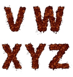 Vwxyz english alphabet letters made of coffee vector