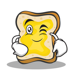 Wink face bread character cartoon vector
