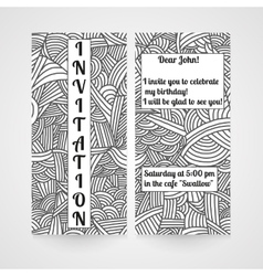 Card with hand drawn doodle pattern invitation vector