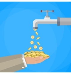 Money coins flows to hand from tap vector