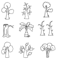 Doodle of nature tree hand draw vector