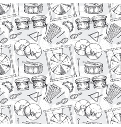Seamless pattern percussion musical instruments vector