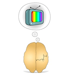 Brain to think about the TV vector image