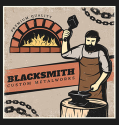 Vintage colorful blacksmith poster vector