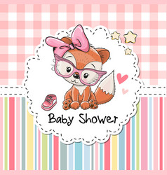 Baby shower greeting card with fox vector
