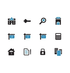 Real Estate duotone icons on white background vector image