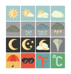 Flat icons weather vector