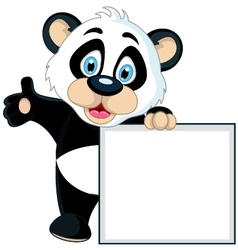 Cute panda cartoon holding blank sign vector