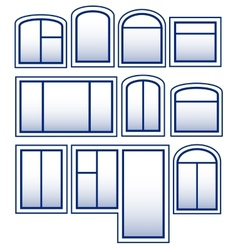 Set blue isolated window vector