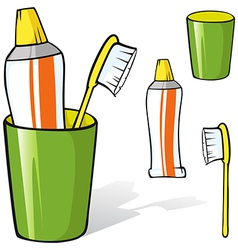 Toothbrush and toothpaste in a cup vector
