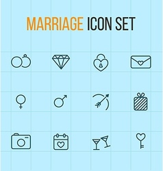 Set of outline marriage icons vector