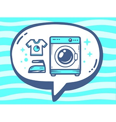 Bubble with icon of washing machine on bl vector