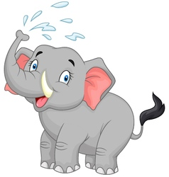 Cartoon elephant spraying water vector