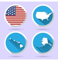 Set of usa country shape with flag vector