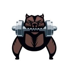 Angry dog with a dumbell vector