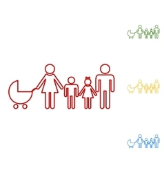 Family sign set of line icons vector