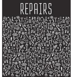 Hand drawn repairs construction tools seamless vector image