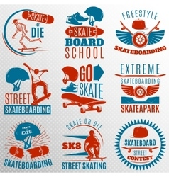 Skateboarding emblem set in color vector