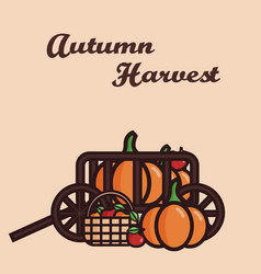 A cart filled with crop pumpkins vector