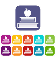 Books and apple icons set vector
