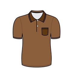 Brown polo shirt outline vector image vector image