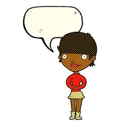 Cartoon friendly woman with speech bubble vector