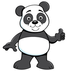 Cartoon panda bear giving thumbs up vector image