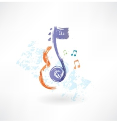 contour Violin and note grunge icon vector image