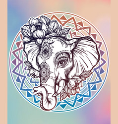 decorative elephant with tribal ornament flowers vector image vector image