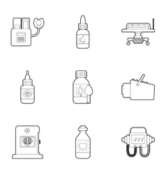 Diagnostic center icons set outline style vector