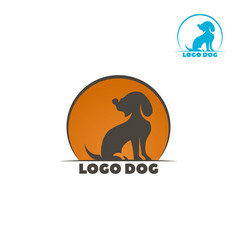 dog logo abstract design template dog silhouette vector image vector image