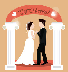 get married couple holding hands beautiful vector image vector image