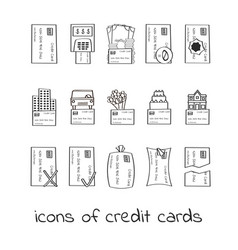 hand draw credit card icons collection of linear vector image vector image