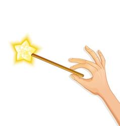 Hand holding magic wand eps10 vector image