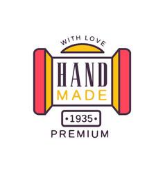 Handmade with love logo template premium quality vector