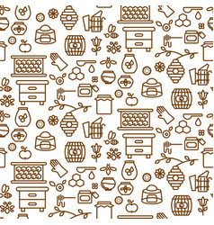 Honey outline icon seamless pattern vector
