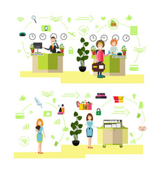 hotel people in flat style vector image vector image