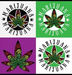 Jamaican style cannabis marijuana leaf symbol vector