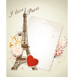 Old frame and Eiffel tower vector image vector image