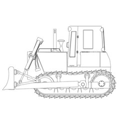 outline bulldozer construction icon excavator vector image vector image