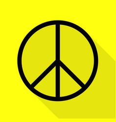 Peace sign black icon with flat vector