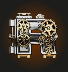 R letter with gears vector