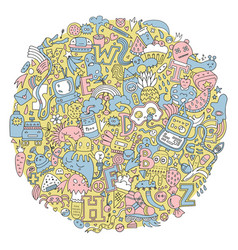 Round doodle pattern vector