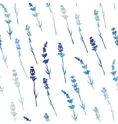 Seamless watercolor lavender pattern vector image