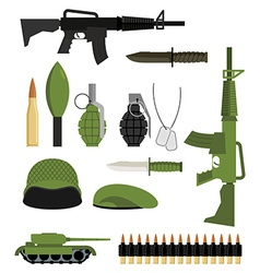 Set of icons for weapons of war Military units vector image