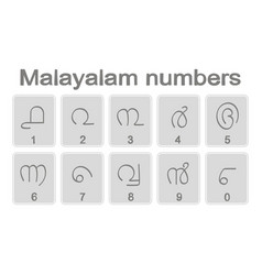 Set of monochrome icons with malayalam numbers vector