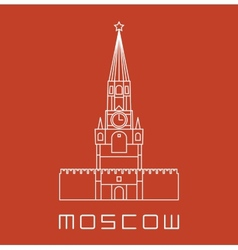 Simple line moscow kremlin clock tower icon vector