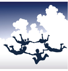 Skydiving children vector
