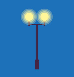Street lamp with two burning light bulbs on blue vector