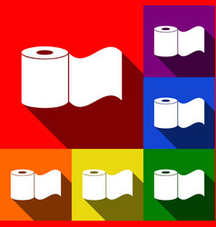 Toilet paper sign set of icons with flat vector